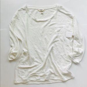 NWOT Land's End Linen long sleeve shirt crew neck